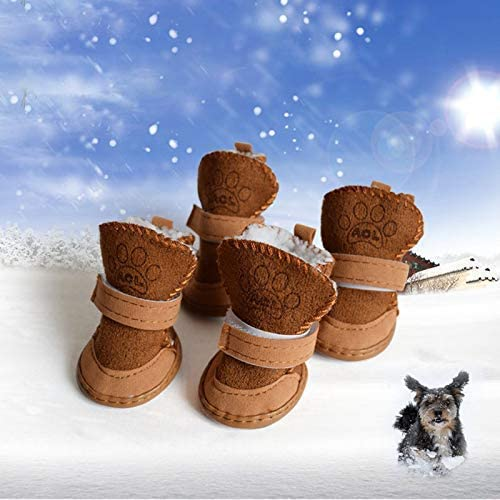 xs URBEST Brown Nonslip Rubber Sole Yorkie Dog Winter Shoes Boots 2 Pair