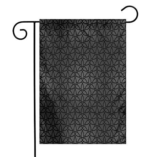 Mannwarehouse Dark Grey Garden Flag Geometric Pattern with Oriental Elements Moroccan Style Curves Lattice Grid Premium Material W12 x L18 Black Dimgrey