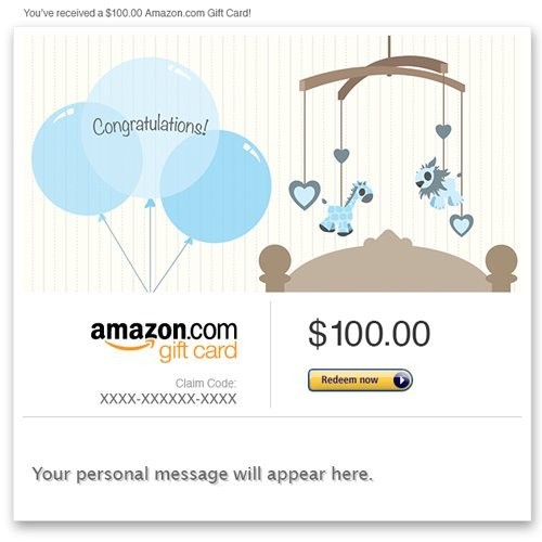 Amazon eGift Card - New Baby Boy (Balloons)