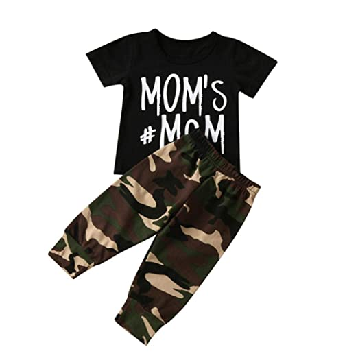 a0b563fa1 Amazon.com  Newborn Infant T-Shirt Tops + Camouflage Pants Baby Boy ...