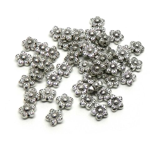 (Rockin Beads Brand, 48 Antique Silver Plated Zinc Flower Spacer Beads 9mm (0.8mm Hole))