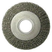 "Weiler 6110 Medium Face Crimped Wire Wheel, 8"" Diameter x 1"" Width, 2"", 0.0118"" Steel, 4500 rpm"