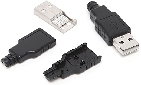 50sets A Type USB 2.0 USB 4Pin Male Plug Socket Connector with Plastic Cover