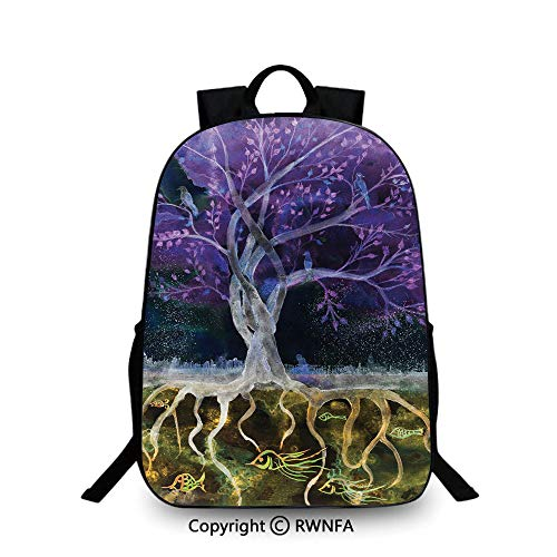 Kids School Backpack,Psychedelic Magical Mysterious Tree at Night with Birds and Fishes and Birds Life Home Plain Bookbag Travel Daypack Multi