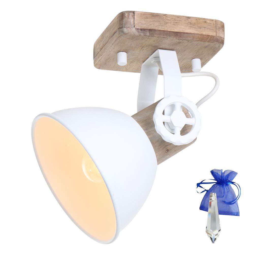 Plafón Spot Madera Pa Blanco E27 Lámpara Metal De dxBoCe