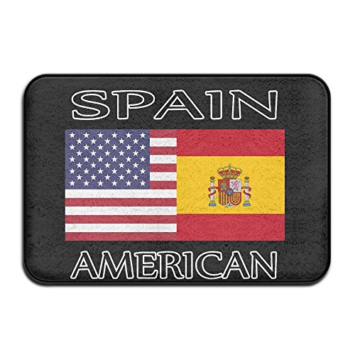EWD8EQ Spain American Flag Non-slip Outside/Inside Door Mat Rug For Health And Wellness Toilet Bathroom Doormat 23.6''x 15.7'' by EWD8EQ