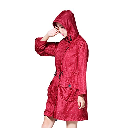 Raincoat Poncho Windbreaker Multifonctionnel Secutey Long Manteau Raincoat Big Light Red wqqnxpgUF