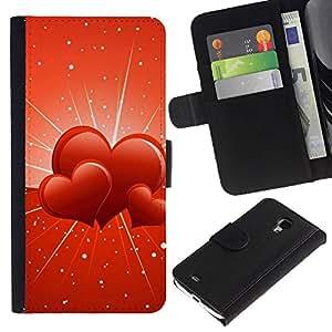 LASTONE PHONE CASE / Lujo Billetera de Cuero Caso del tirón Titular de la tarjeta Flip Carcasa Funda para Samsung Galaxy S4 Mini i9190 MINI VERSION! / Three hearts