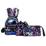 Rumas Rabbit Ears Sequins Backpack Set for Women Girld Kids - Drawstring Bag & Messenger Bag Included - Chic Backpack for Shopping Travel School Outdoor Activities (Blue)