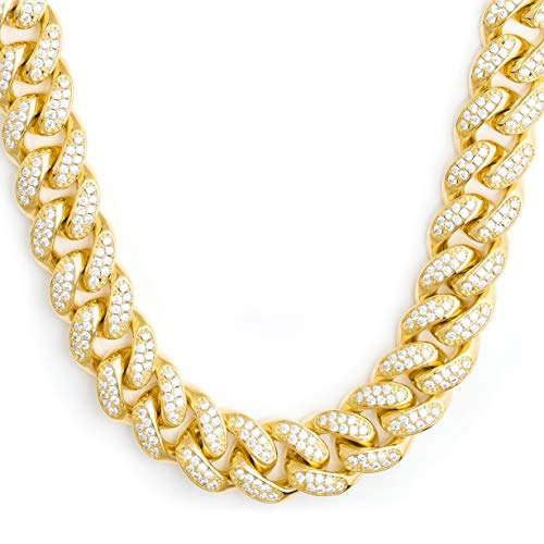 TRIPOD JEWELRY VVS Lab Diamonds Full Iced Out 18K Gold Plated Miami Cuban Link Chain 10mm (18K Gold 10mm, 22)