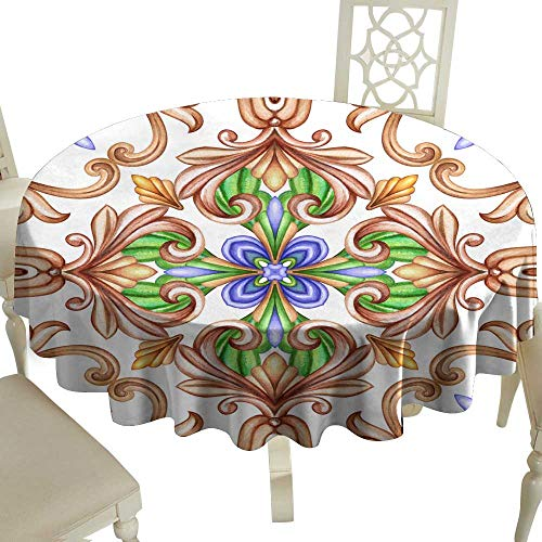 WinfreyDecor Dustproof Tablecloth Watercolor Illustration Abstract Decorative Background Vintage Pattern Medieval Acanthus Ceramic Tile Ornament Kaleidoscope Mandala Great for Buffet Table D55