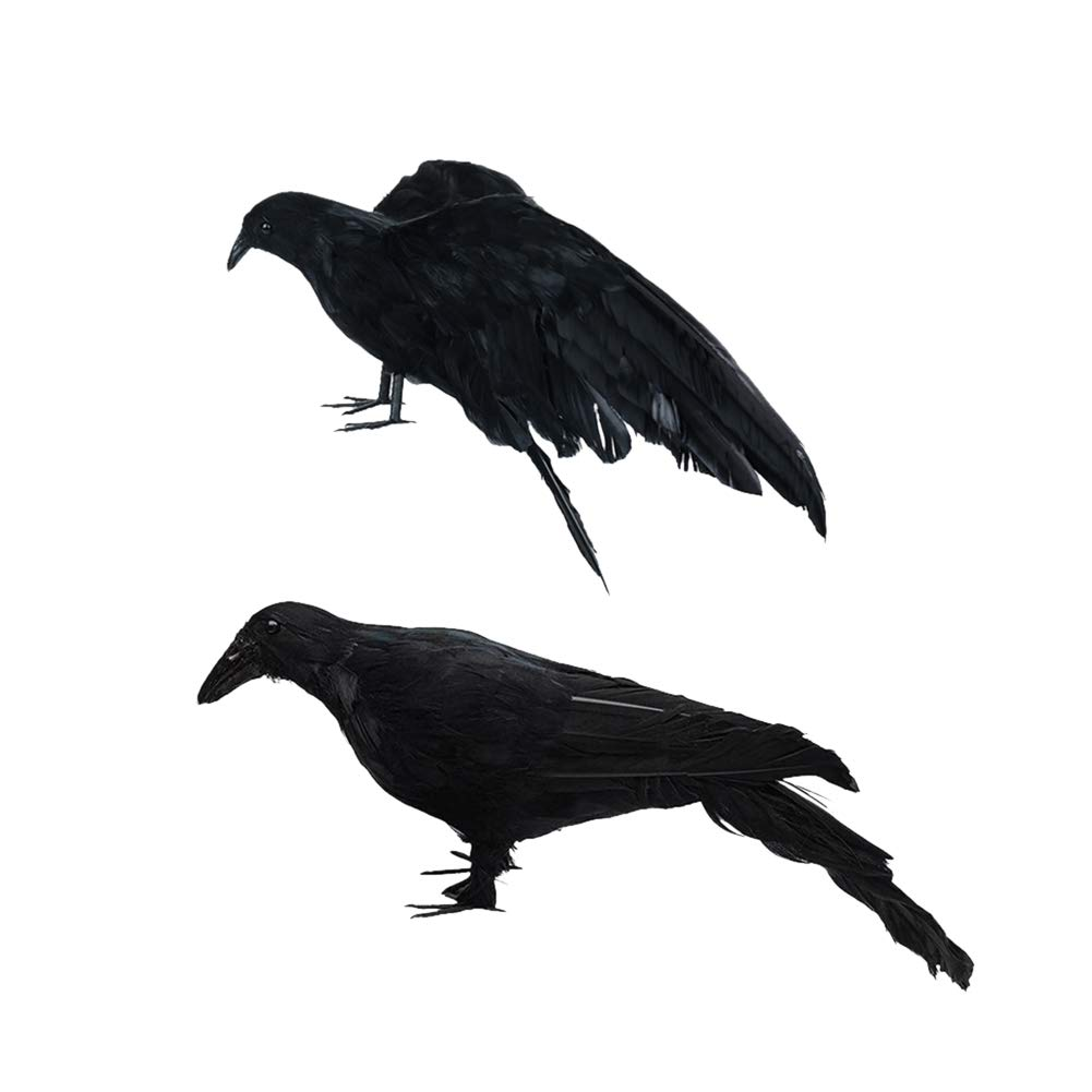Develoo 2PCS Halloween Crows, L(13 inch+12 inch) Realistic Crows Extra Large Handmade Black Feathered Crow for Halloween Decorations Birds Ravens Props Haunted House Decor