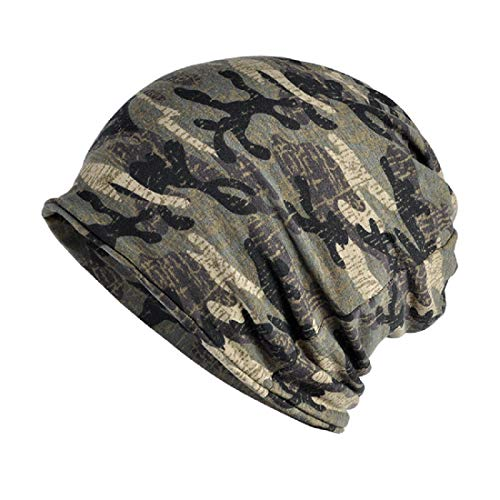 Camouflage Beanies Chemo Caps Cancer Headwear Skull Cap Knitted hat Scarf for Womens Mens (B-Army Green)