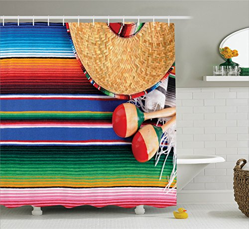 Ambesonne Mexican Decorations Collection, Mexican Artwork with Sombrero Straw Hat Maracas Serape Blanket Rug Image, Polyester Fabric Bathroom Shower Curtain Set with Hooks, Green Blue Red Ivory by Ambesonne