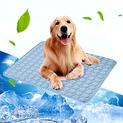 Volwco Pet Dog Self Cooling Mat Pad, 28''x22''Ice Silk Mat Pet Cooling Non Sticking Blanket Keep Pets Summer Cool Comfort for Cats and Dogs Home and Travel, Car Seats, Crates and Beds, Blue
