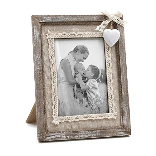 Love Heart Frame - Afuly Rustic Love Picture Frame 4x6 White Heart Cute Burlap Distressed Wood Photo Frames Wedding Gifts