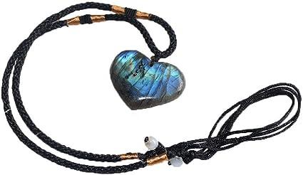 kioski Moonstone Natural Heart Pendant Labradorite Macrame Hanging Ornament Necklace Gem Crafts Wrap Braid Radiation Protection Original Stone