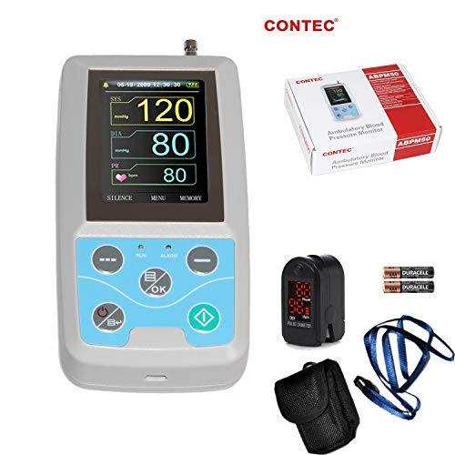 Continuous Monitor - CONTEC ABPM50 Ambulatory Blood Pressure Monitor with PC Software for Continuous Monitoring+USB Port Free oximeter as Gift