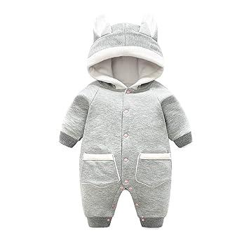 cd7adba08ef4 Baby Hooded Romper Snowsuit Newborn Onesies Jumpsuit Overalls Winter  Outfits 0-3 Months