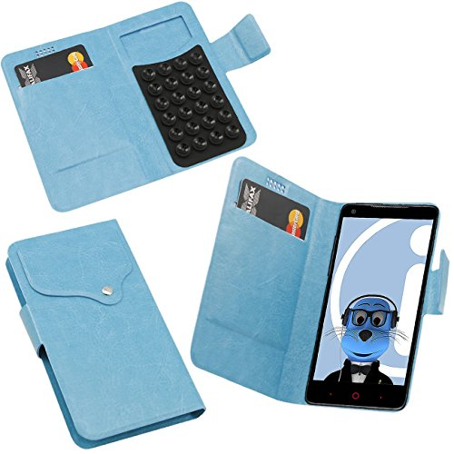 iTALKonline ZTE Nubia Z5 Sky Blue Super Slim PU Leather Executive Multi-Function Wallet Case Cover Organiser Flip with Credit / Business Card Holder - Suction Pad Design