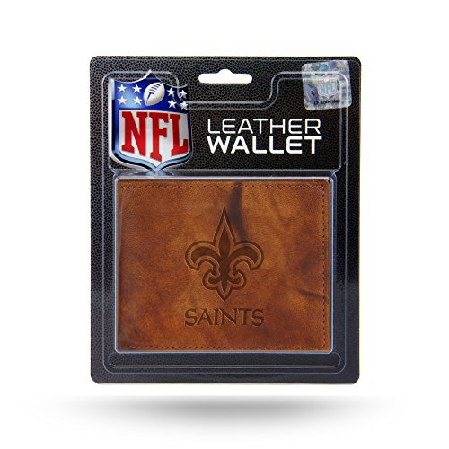 Rico Industries NFL New Orleans Saints Embossed Leather Billfold Wallet with Man Made Interior