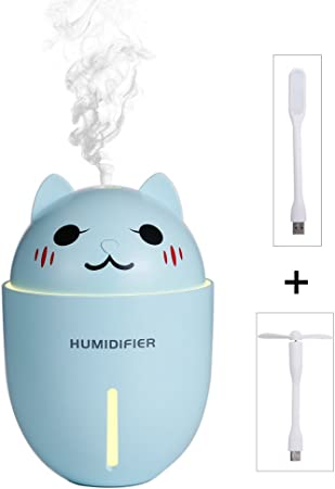 TACY Cute Kitty 3 in 1 320mL Air Humidifier+Cooling Fan+ Night light, Mini Cool Mist Humidifiers with Fan and Night Lamp Function for Bedroom, Baby