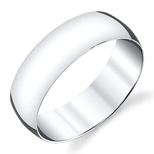 7mm Plain Dome Sterling Silver Mens Wedding Band Comfort Fit Ring SEVB007