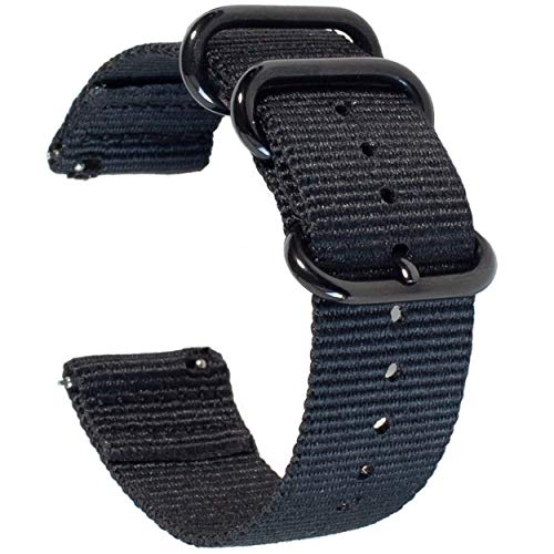 Carterjett Quick Release Watch Band 22mm - Extra Large Black Nylon NATO Straps Compatible Samsung Gear Galaxy S3 Classic Frontier Moto Pebble Fossil Smartwatch Traditional 22 mm (L/XL Black)