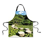 iPrint BBQ Apron,Zen,Stone Path in Japanese Garden Lake with Lotus Leaves Meditation Nature Scenery Decorative,Lime Green Sky Blue, Apron.29.5''x26.3''