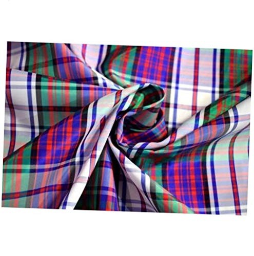 (Fabric by The Yard Dyed Tartan Plaid Red Blue Green Polyester Taffeta Fabric 50