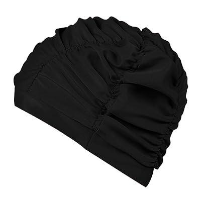 Bonnet de natation hommes et femmes Universal mode confortable bonnet de bain cheveux longs protection des oreilles chapeau de bain ( Couleur : Noir )
