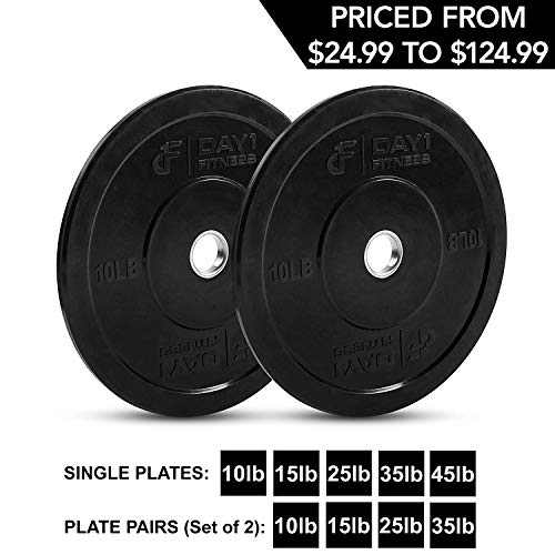 """Day 1 Fitness Olympic Bumper Weighted Plate 2"""" For Barbells"""