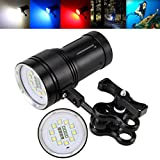PENATE 3 Modes 100m Diving Underwater Flashlight 10x XM-L2+4x R+4x B 12000LM LED Hard Light Video / Camera Photography Anti-Pressure Anti-Corrosion Diving Hand Lamp With Batteries and Charger