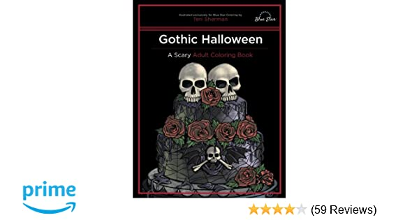 Gothic Coloring Pages For Adults : Gothic halloween a scary adult coloring book blue star coloring