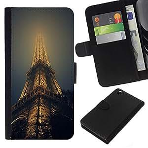 NEECELL GIFT forCITY // Billetera de cuero Caso Cubierta de protección Carcasa / Leather Wallet Case for HTC DESIRE 816 // TORRE EIFFEL EN NIEBLA