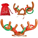 heytech Inflatable Reindeer, 2 Pack Inflatable Reindeer Antler Ring Toss Game for Christmas Party (2 Antlers & 8 Rings &1 Gift Bag)