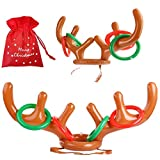 heytech Inflatable Reindeer, 2 Pack Inflatable Reindeer Antler Ring Toss Game for Christmas Party (2 Antlers&8 Rings&1 Gift Bag)