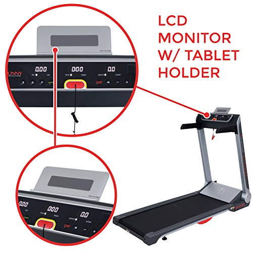 Sunny Health & Fitness Motorized Folding Running Treadmill with Wide Base, Portable, USB, Aux, No Assembly, Flat Folding & Low Profile - Strider SF-T7718