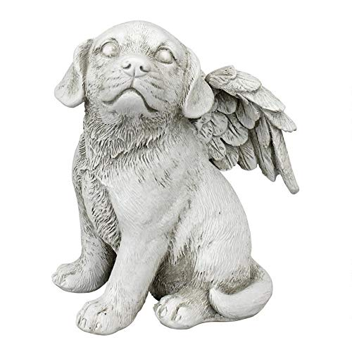 Design Toscano LY7154052 Loving Friend Dog Angel Pet Memorial Statue, Medium, Antique Stone Finish