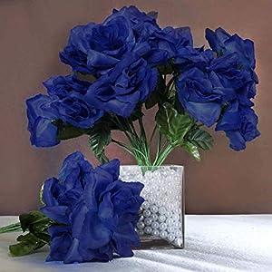 Efavormart 84 Artificial Open Roses for DIY Wedding Bouquets Centerpieces Arrangements Party Home Wholesale Supplies - Royal Blue 37
