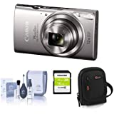 Canon PowerShot ELPH 360 HS 20.2MP Digital Camera, Silver - Bundle with Camera Case, 16GB Class 10 SDHC Card, Cleaning Kit