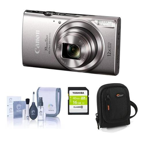 360 HS 20.2MP Digital Camera, Silver - Bundle with Camera Case, 16GB Class 10 SDHC Card, Cleaning Kit (Best Canon Film Camera)