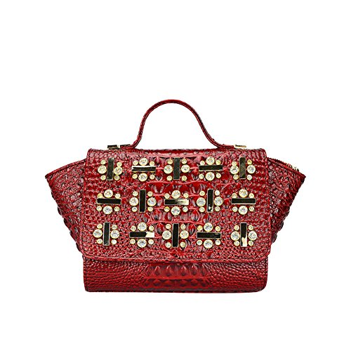 Moonwalk Women Patent Leather Crocodile Top Handle Handbag Shoulder Tote Bag With Rhinestones Chain Strap (red)