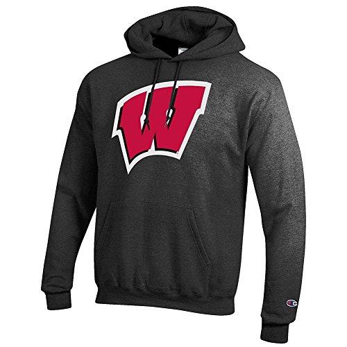 Elite Fan Shop Wisconsin Badgers Hoodie Sweatshirt Icon Charcoal - XXL
