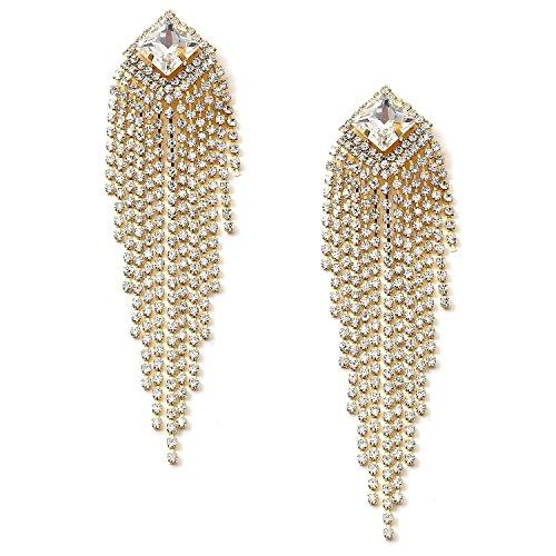Gold Crystal Rhinestone around a Diamond Shape Crystal Stone with Cascading Crystal Rhinestone Strands Earrings ()
