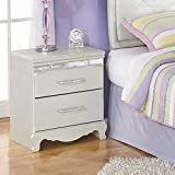 Ashley Furniture Signature Design - Zarollina Nightstand - 2 Drawers - Faux Crystal Accent Handles - Casual Kids Room - Silver