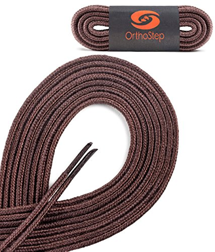 Lace Snow Boots (OrthoStep Thin Round Athletic Nylon Brown 48 inch Shoelaces - Fused Tips - Work Boot Laces 2 Pair Pack)