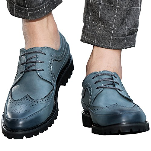 Herren Brogue Schnürhalbschuhe Oxford Schnürung im Brogue für Anzug Business Freizeit Schwarz Blau Grau Blau