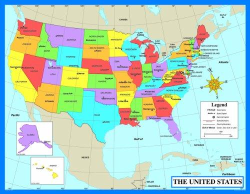 Carson Dellosa Map of The United States Chart (6333)