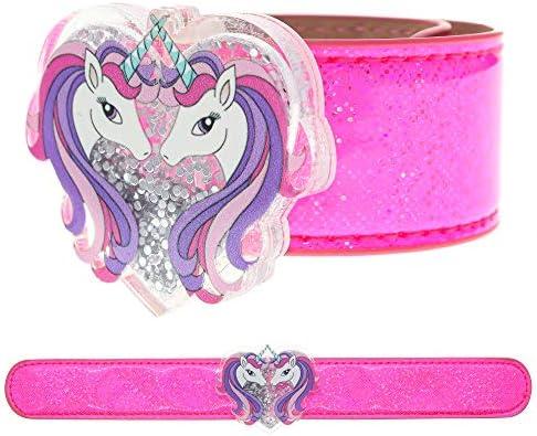 FROG SAC Unicorn Slap Bracelet for KidsGlitter Shaker Charm Unicorns Snap BraceletCute Unicorn Gift for Girls